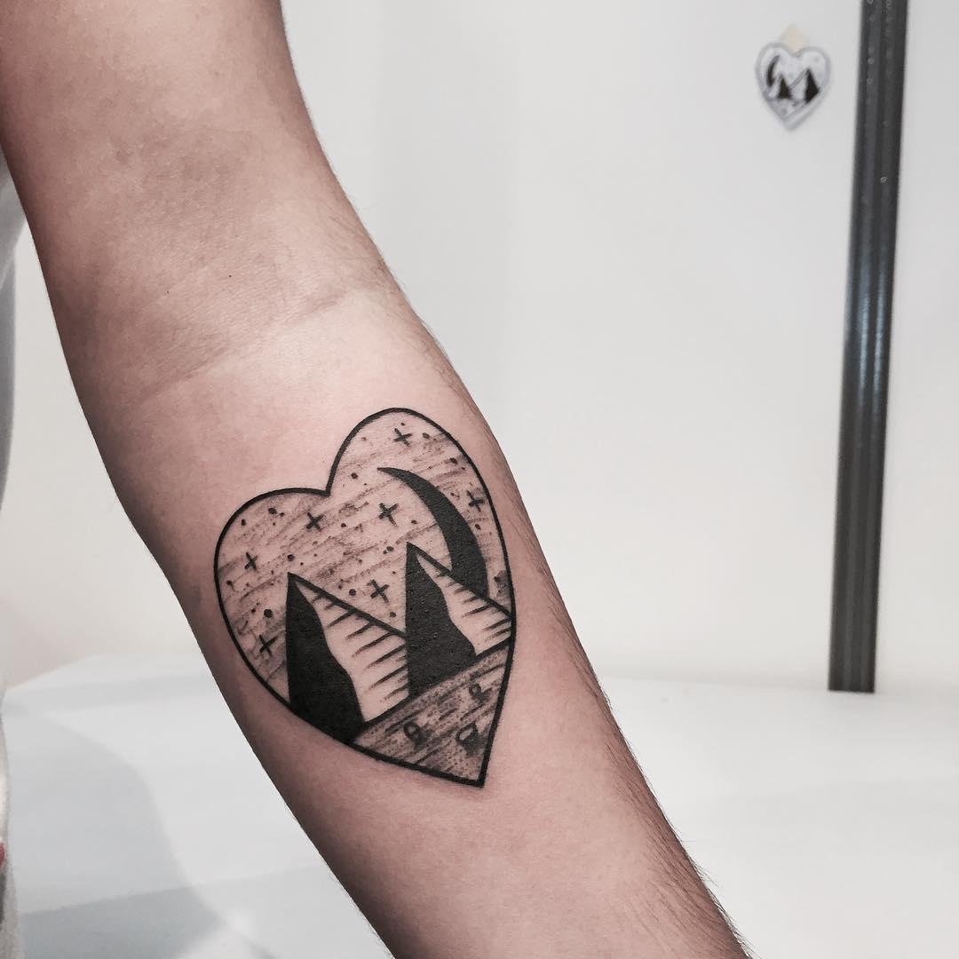 Pyramids in a heart