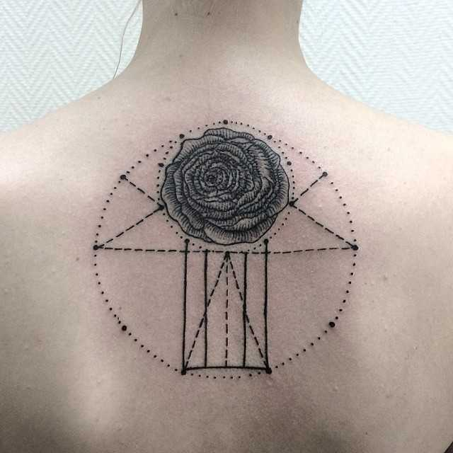 Rose and geometric shapes tattoo
