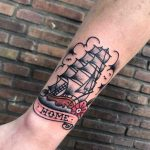 Ship sailing home tattoo