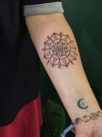 Simple mandala and crescent moon
