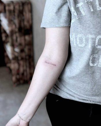 Single needle signature tattoo by Lox Luna