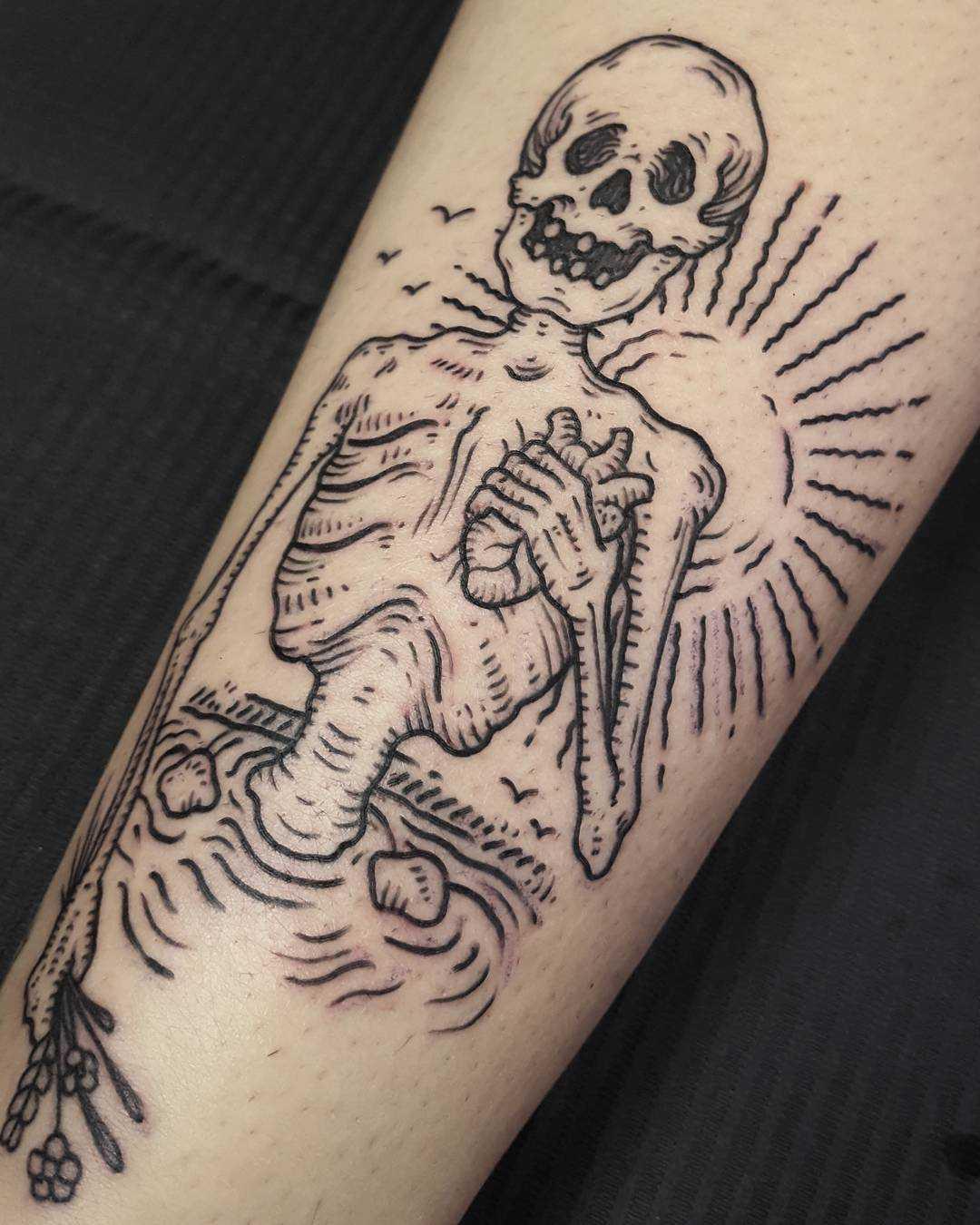Skeleton in Lake Michigan tattoo