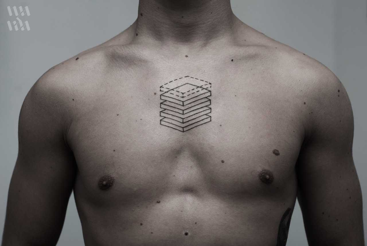 Stacked wooden boards tattoo