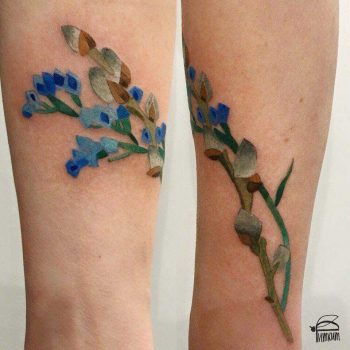 Statice and pussy willow tattoo