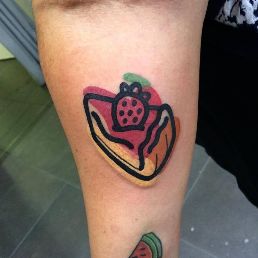 Strawberry cheesecake tattoo