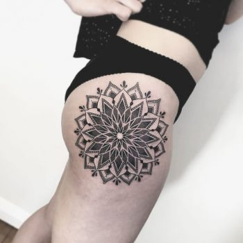 Superb mandala tattoo on the right hip
