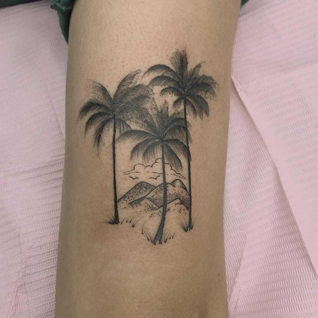 Three palms landscape tattoo