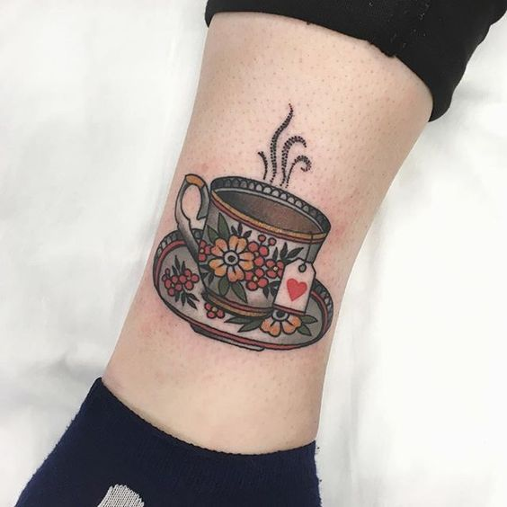 Traditional cup of tea tattoo