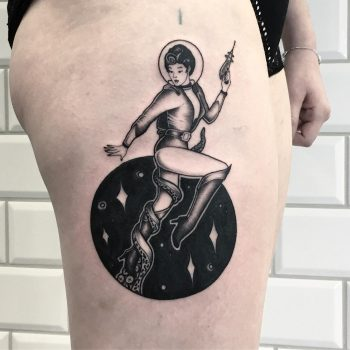 Vintage sci-fi space girl tattoo