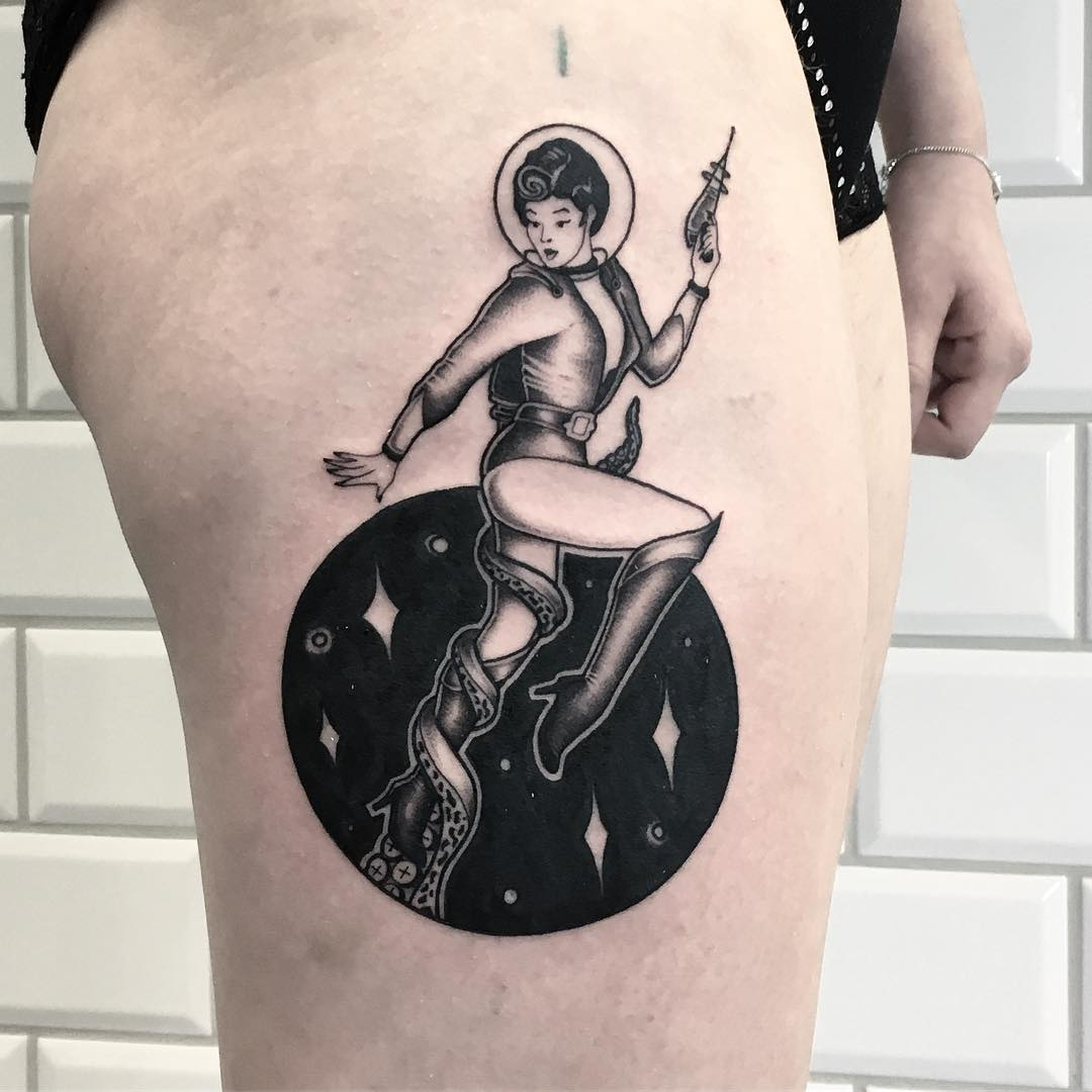 Vintage sci-fi space girl tattoo