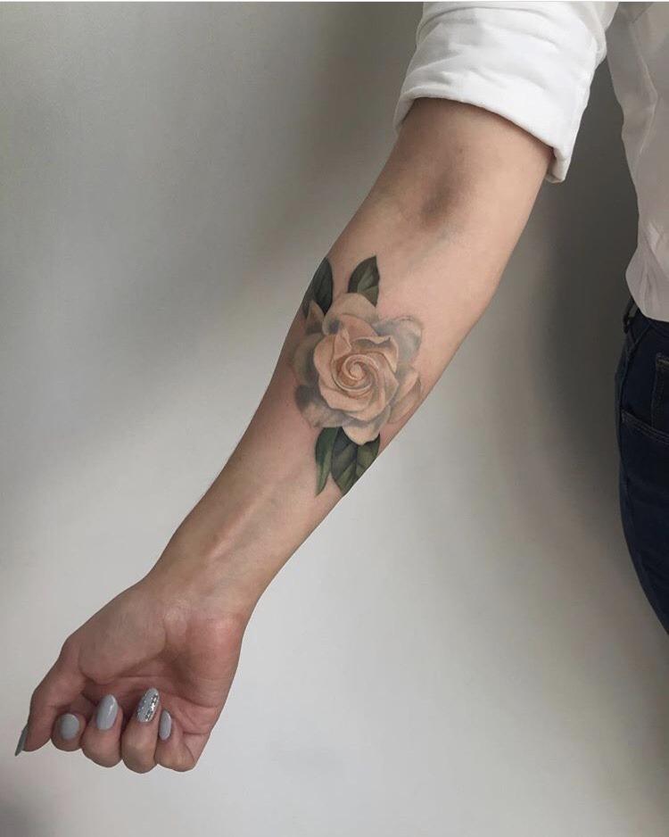 White rose tattoo by Amanda Wachob