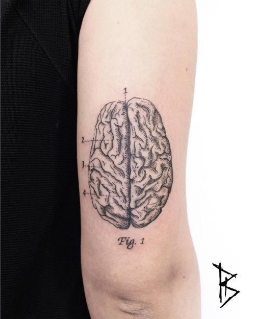 Woodcut style brain tattoo