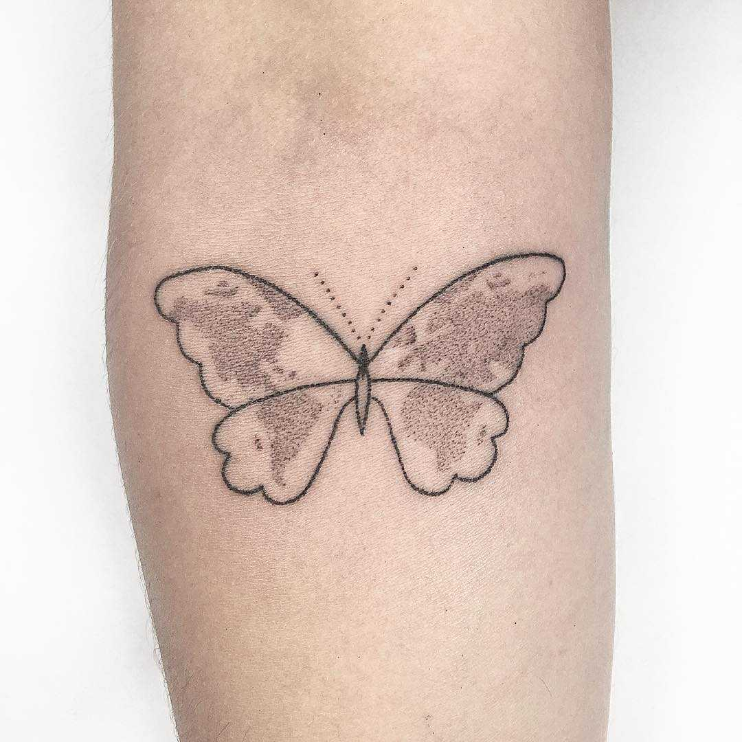 World map butterfly tattoo
