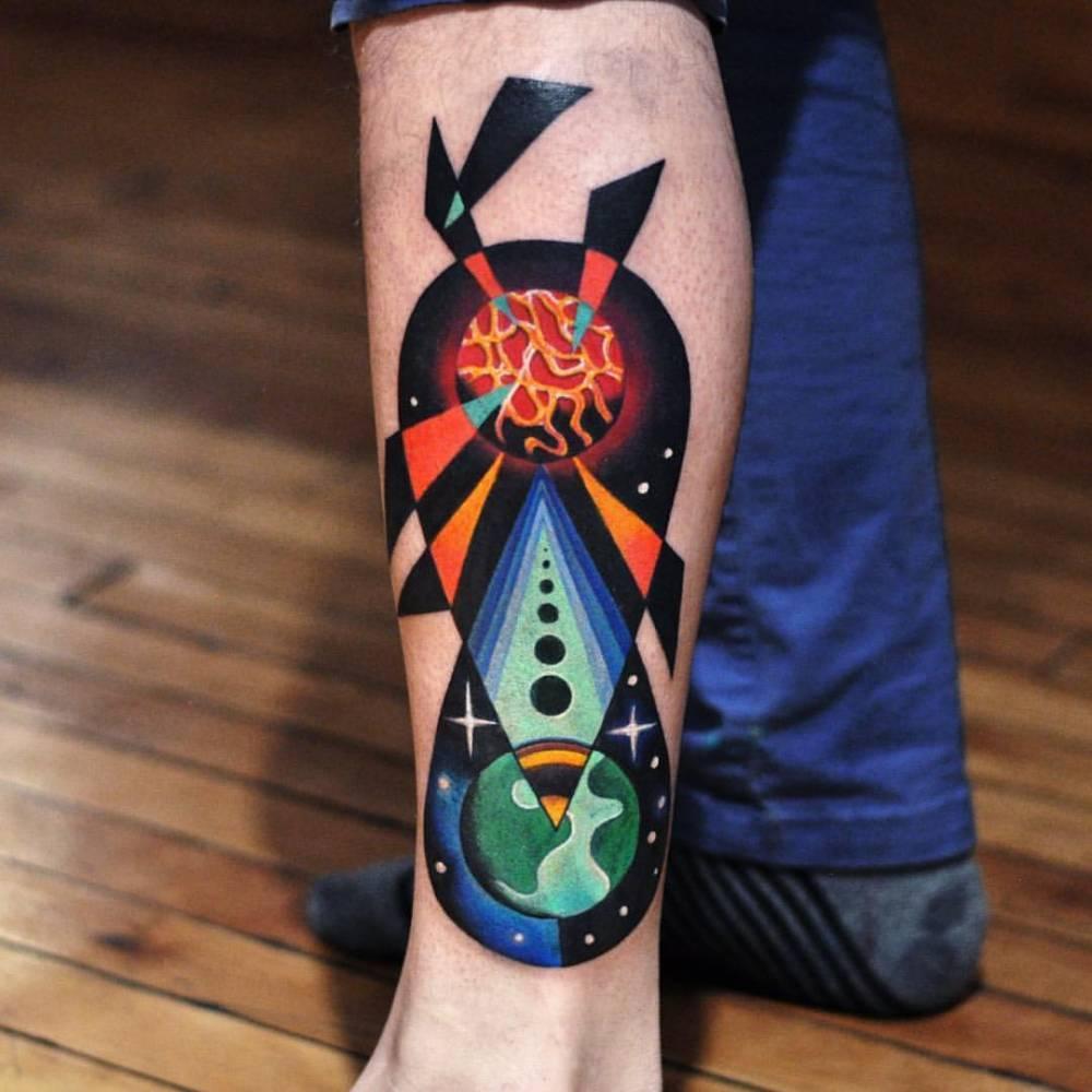 Abstract earth tattoo by David Côté