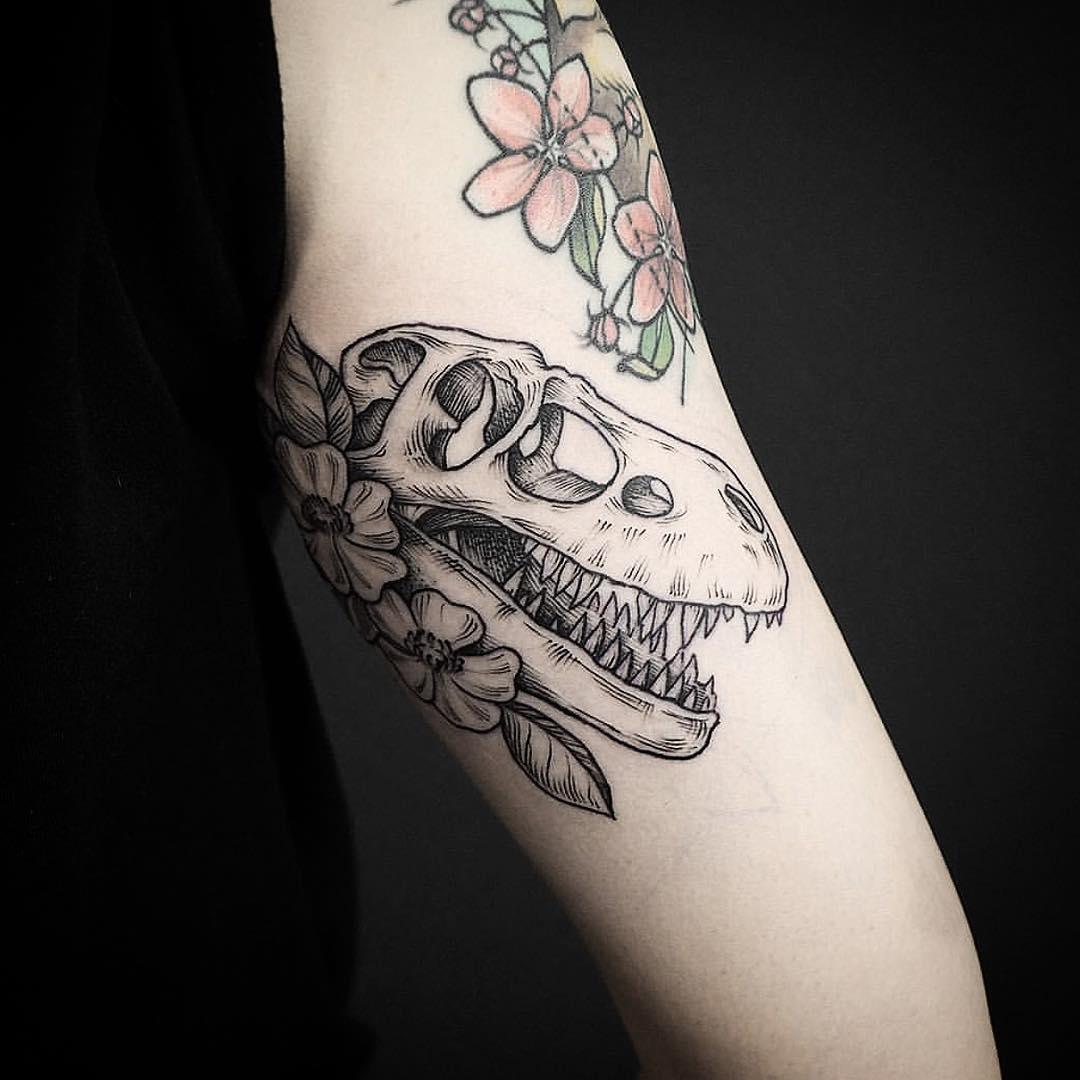 Albertosaurus skull tattoo by EK