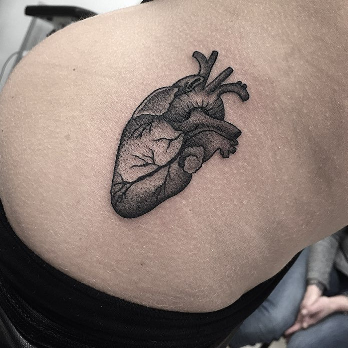 Anatomical heart tattoo by Jay Lester