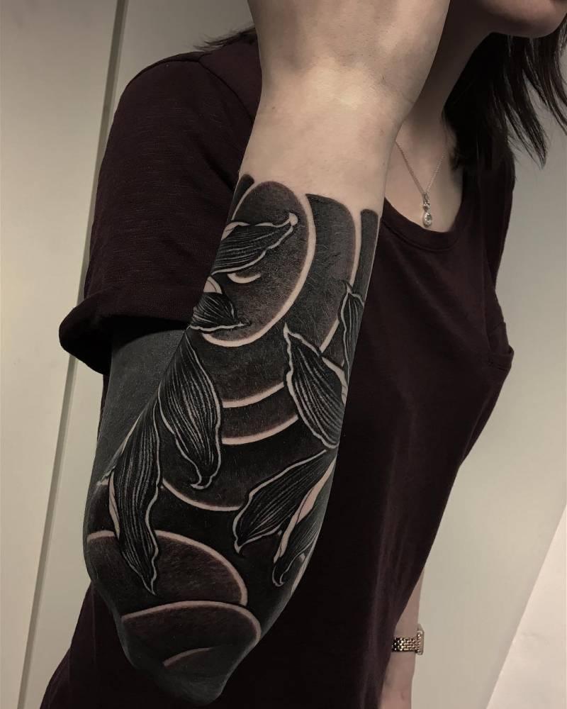Blackwork sleeve by Gakkin done at Gxinx Amsterdam