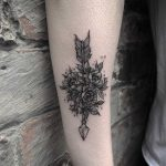 Botanical arrow tattoo
