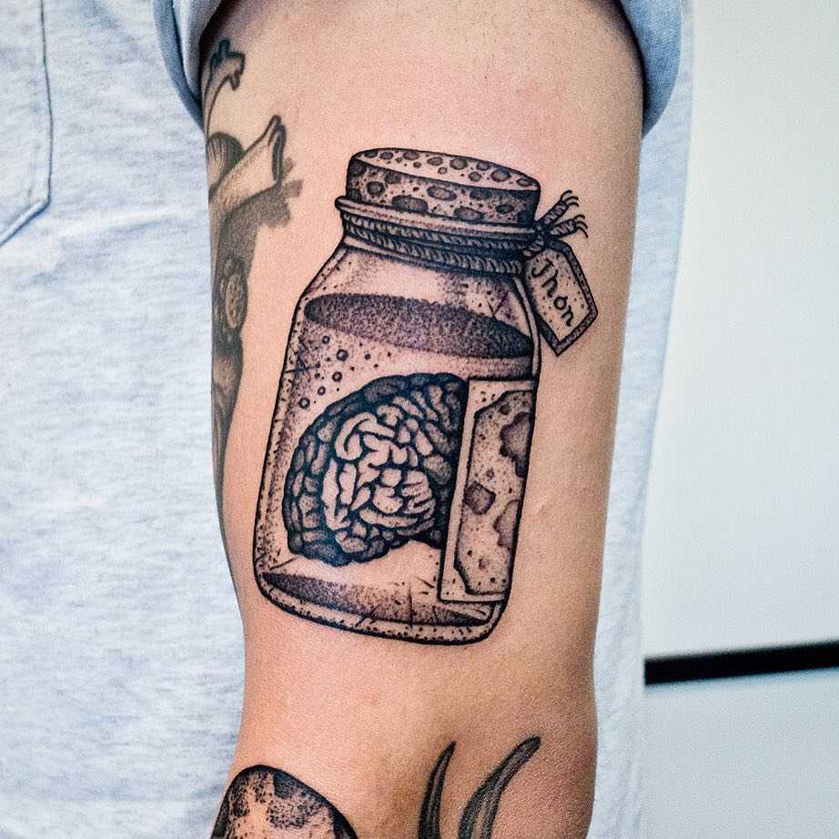 Brain in a jar tattoo