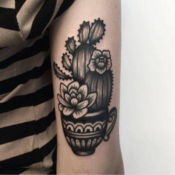 Cactus tattoo by Arianna Fusini