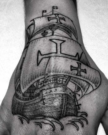 Caravel ship tattoo