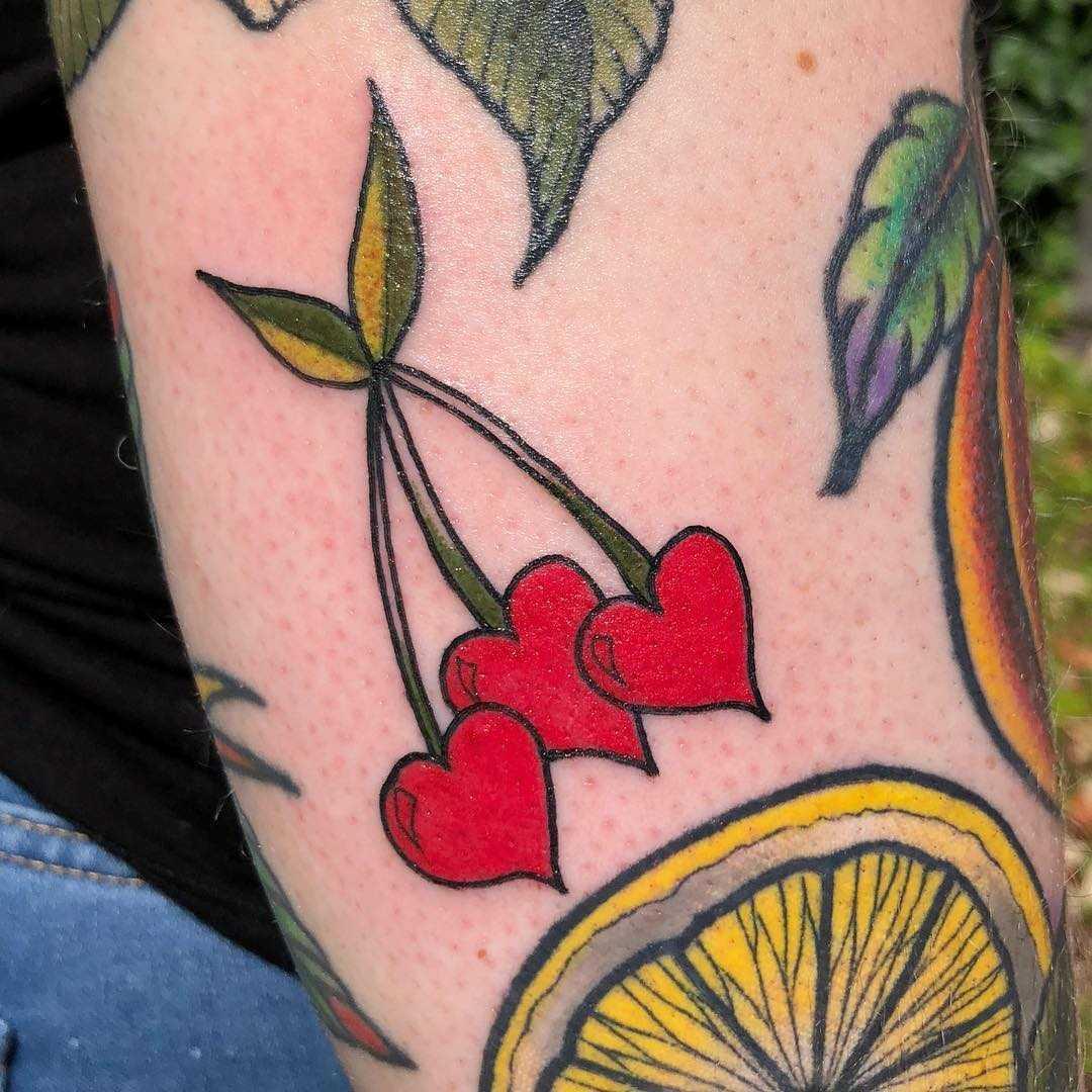 Cherry hearts tattoo