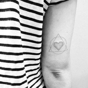 Ciute geometry and heart tattoo