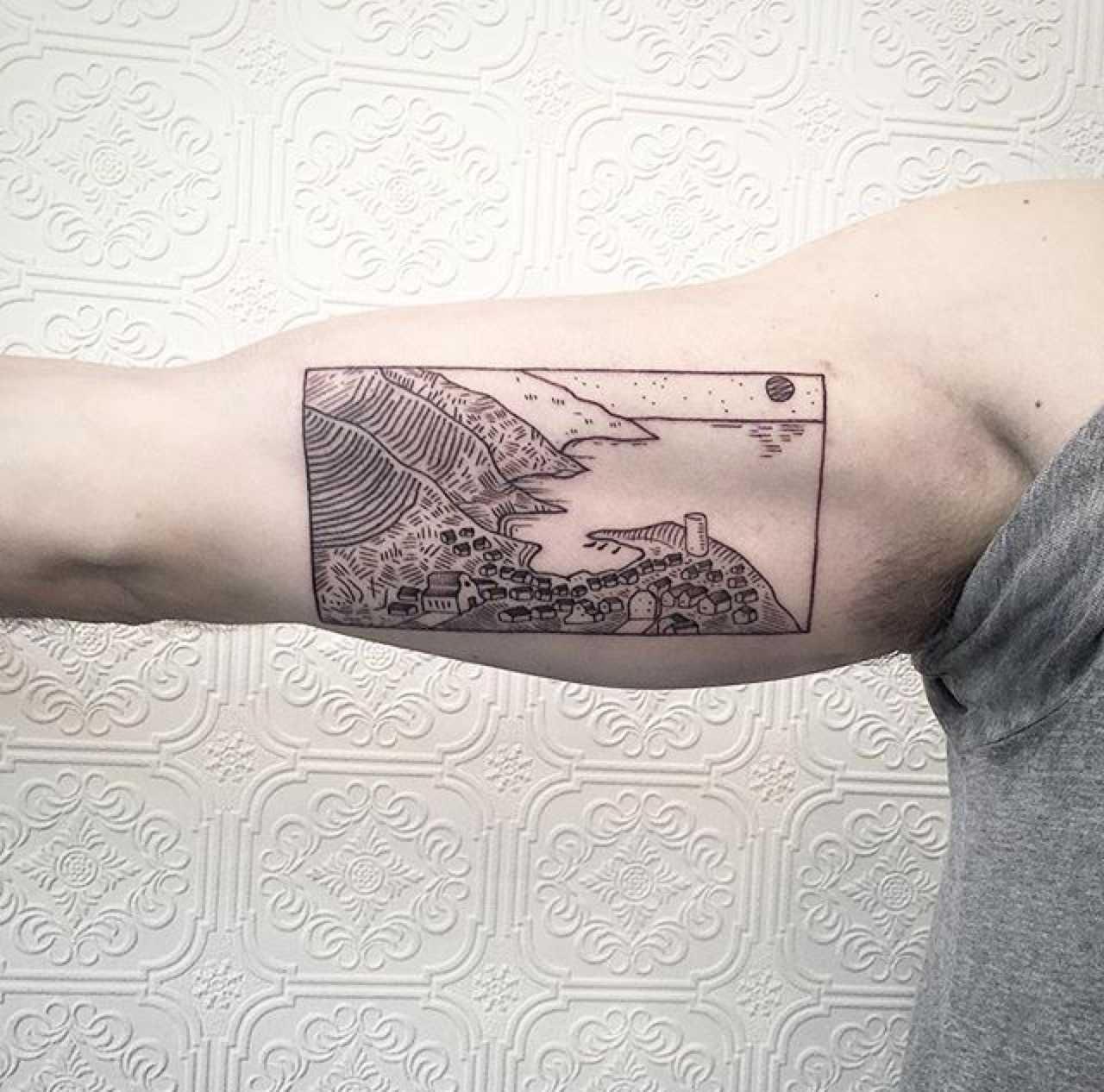 Coastal scenery tattoo by Johno Tattooer