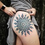 Colorful mandala tattoo by Brie Dots