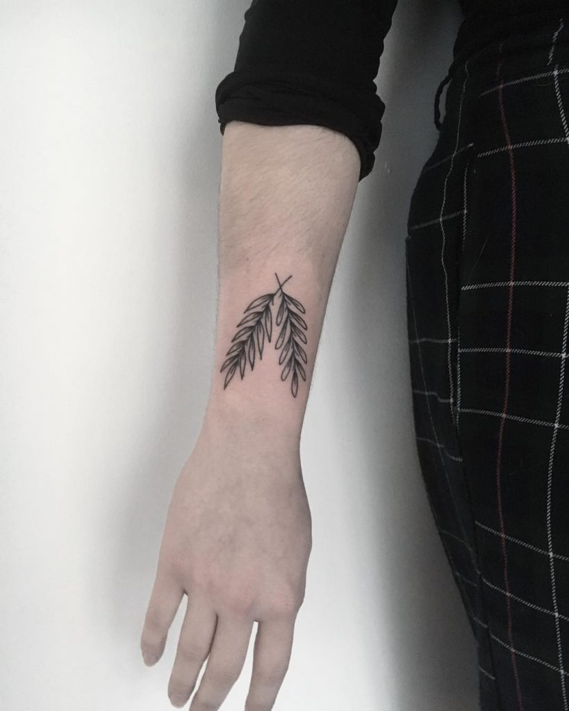 Crossed wheat ears tattoo