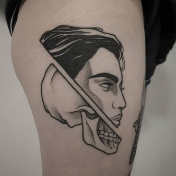 Dead and alive head tattoo