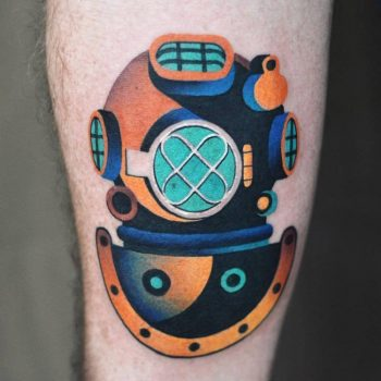 Diving helmet tattoo by David Côté