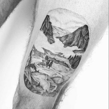 Dot-work nature view tattoo by Noam Yona