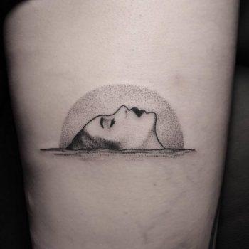 Dot-work style drowning Ophelia tattoo