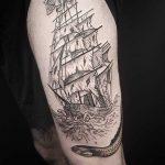 Doywork diamond pirate ship tattoo