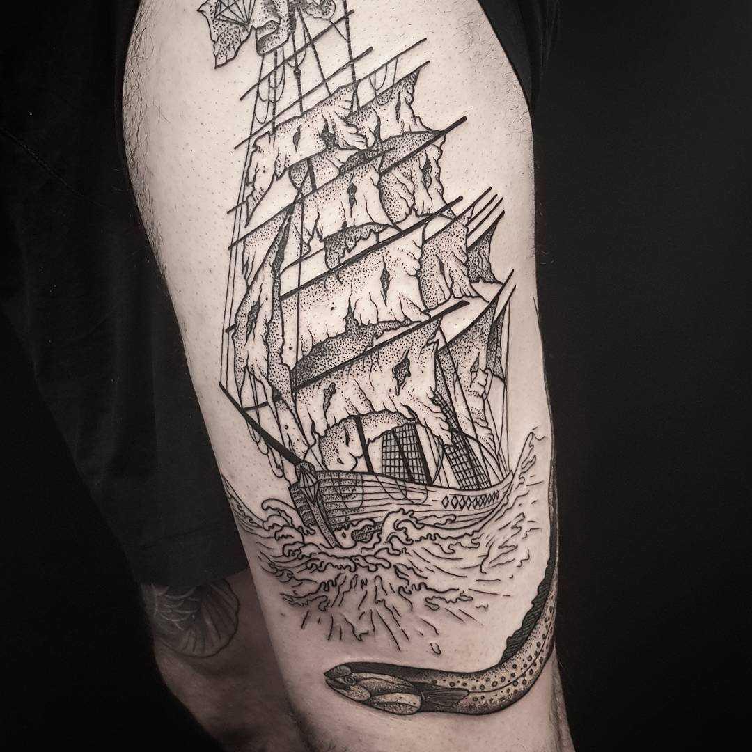 Dotwork diamond pirate ship tattoo
