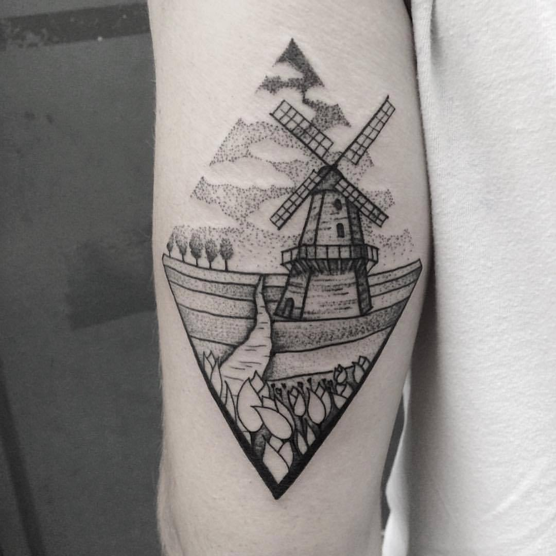 Dutch landscape tattoo by Roald Vd Broek