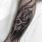 Evil goat skull tattoo
