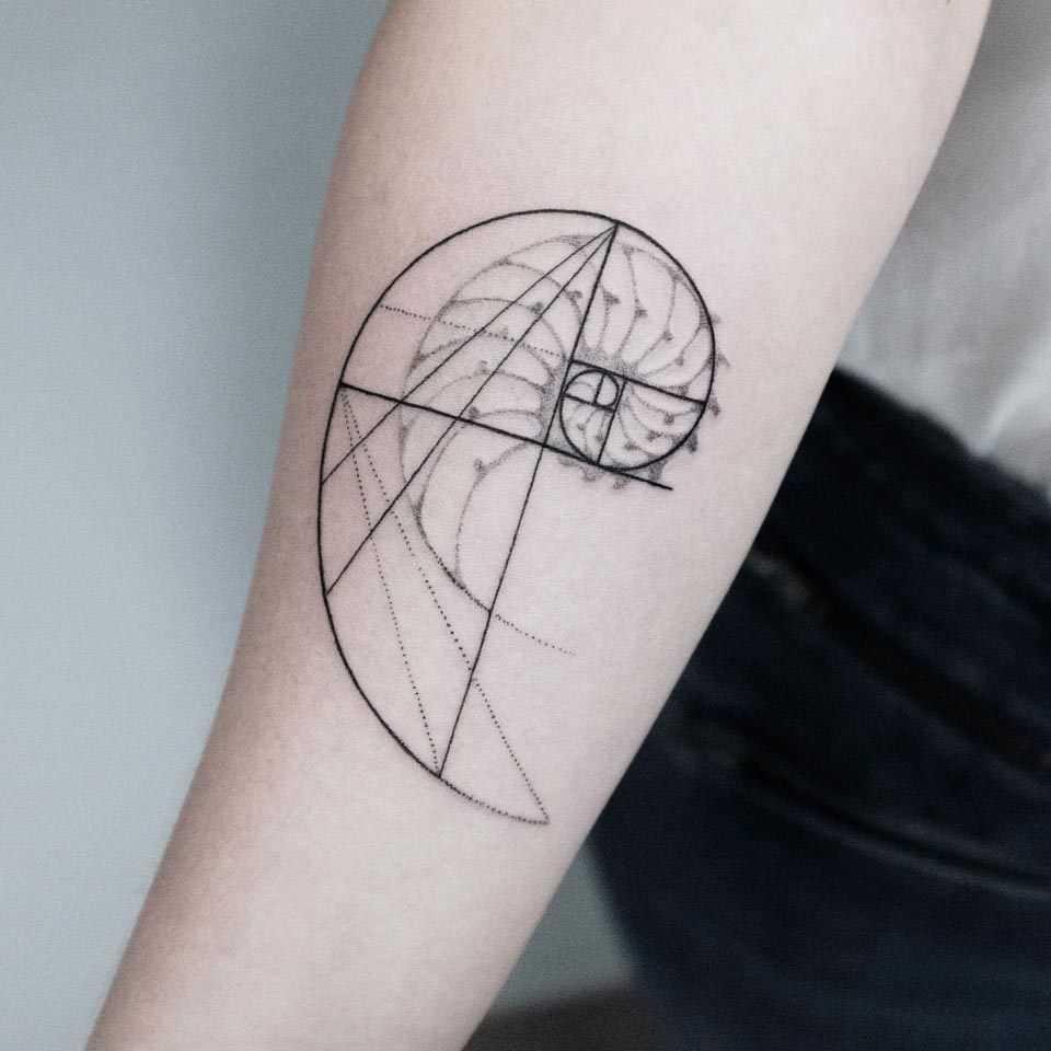Fibonacci spiral tattoo by Dogma Noir