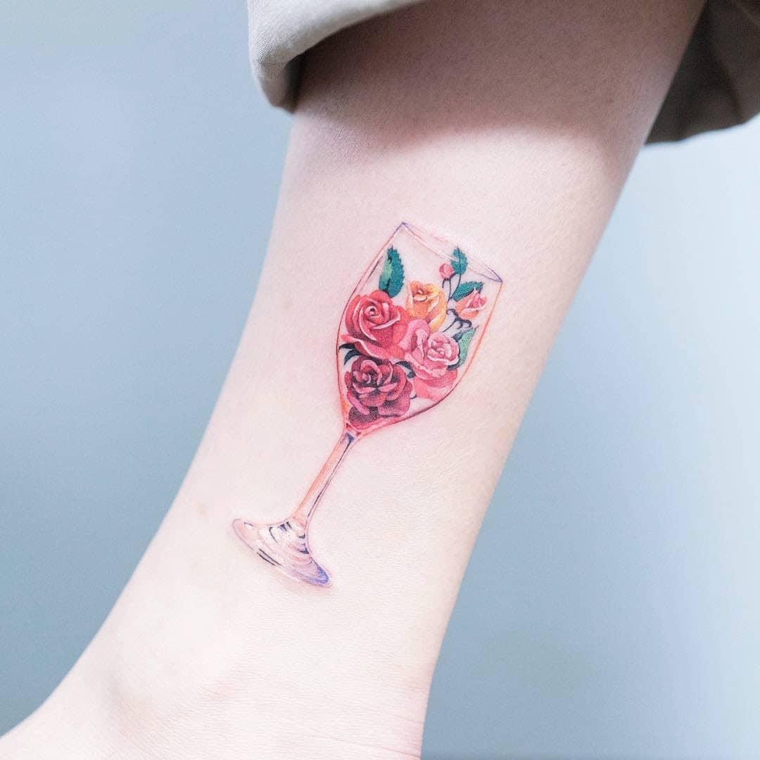 Floral glass tattoo