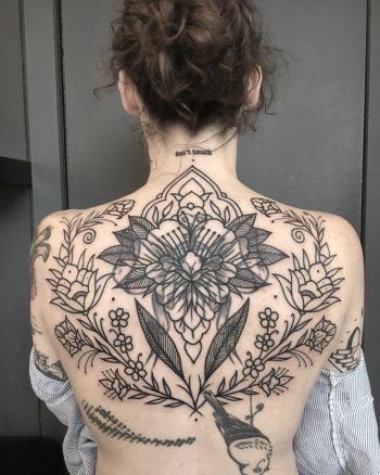 Floral ornaments all over the back