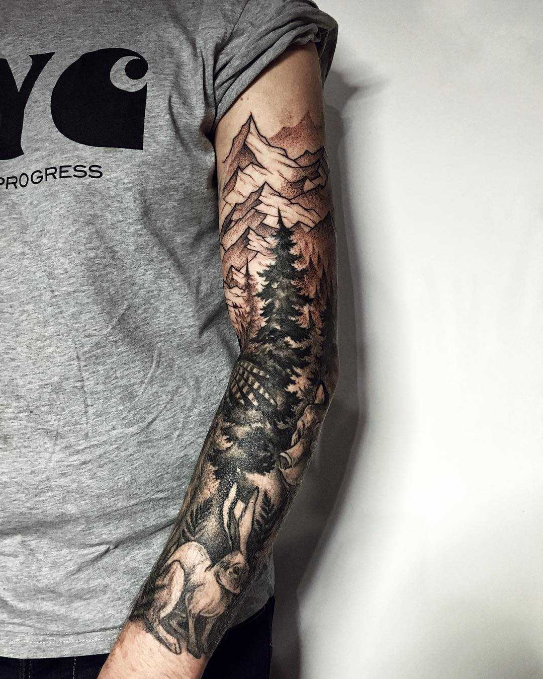 Forest landscape sleeve tattoo