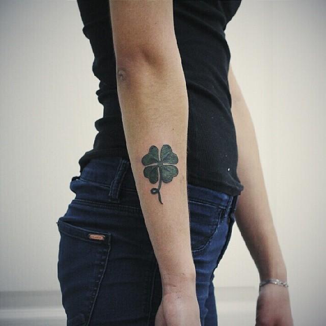 Four-leaf clover on the forearm