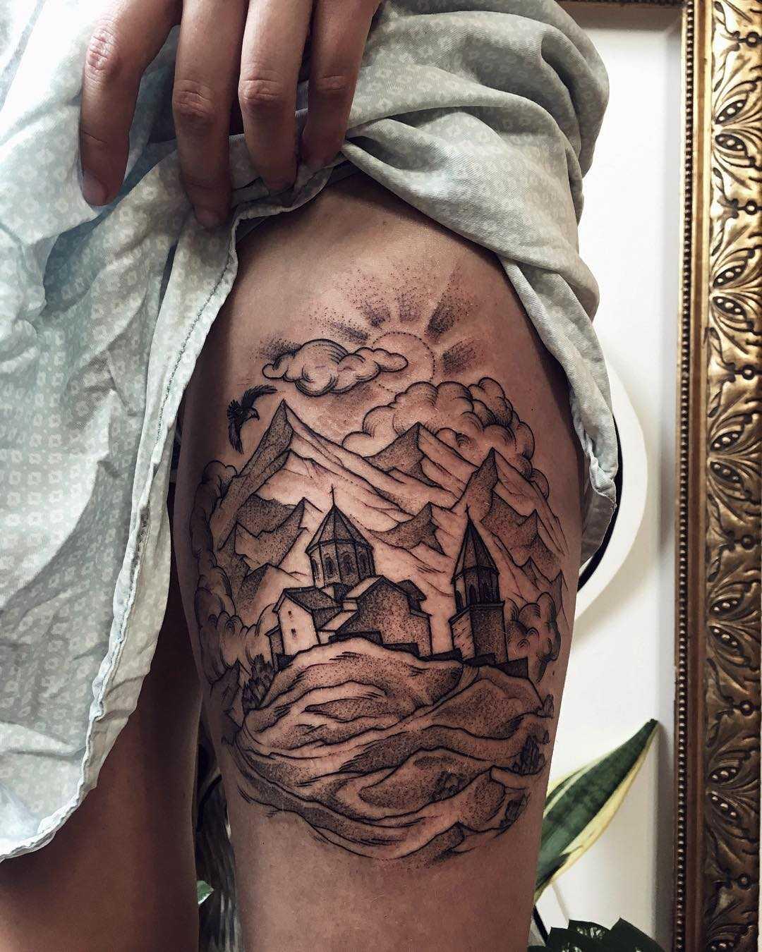 Georgian landscape tattoo
