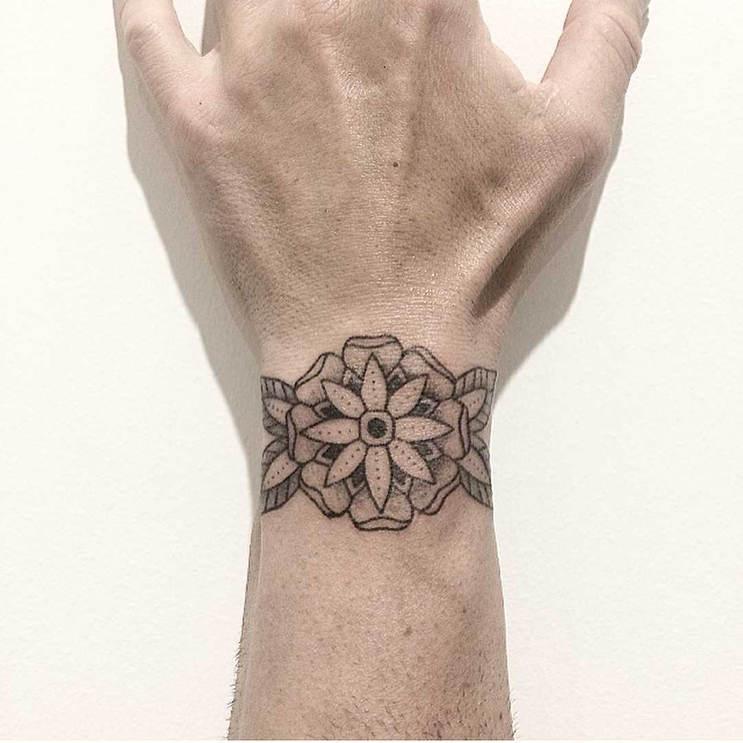 Hand-poked floral wristband
