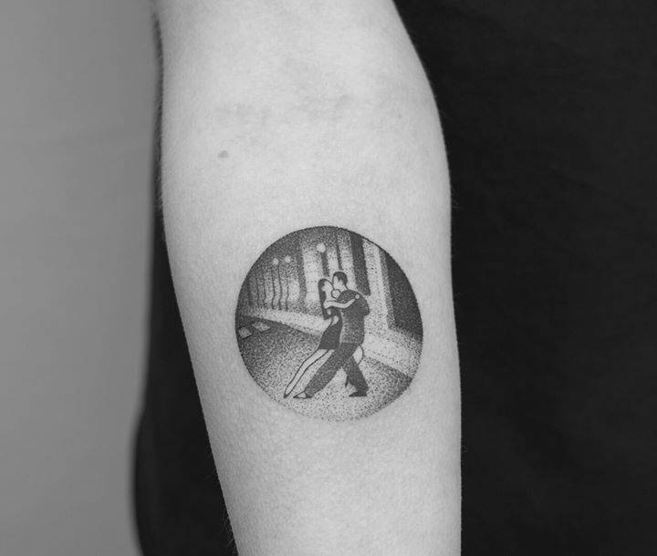 Hand-poked tango dancers tattoo