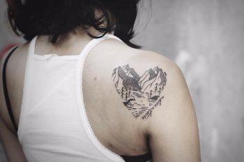 Heart mountain tattoo by Yi.postyism