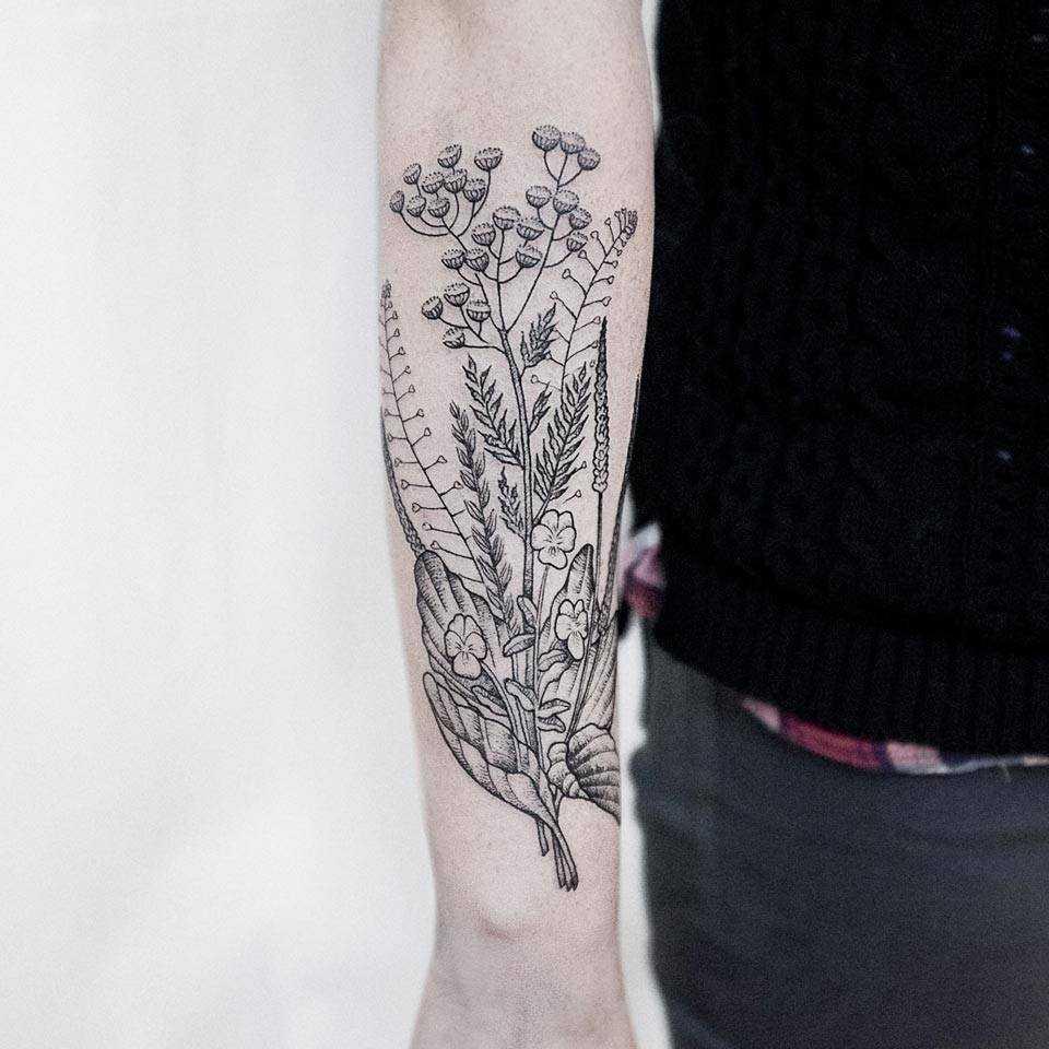 Herbs tattoo by Dogma Noir Uls Metzger