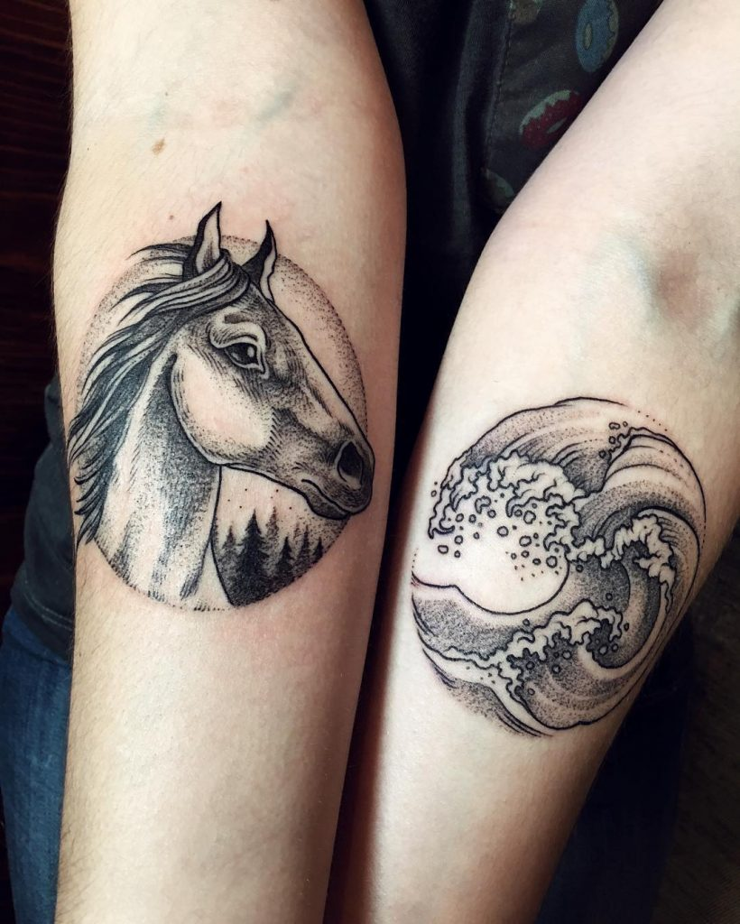 Horse and The Great Wave tattoo