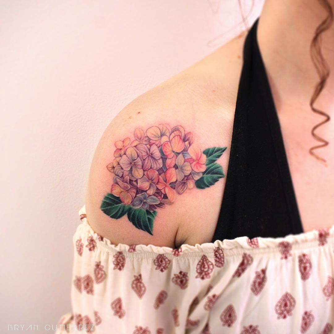 Hydrangea tattoo on the shoulder